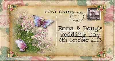 24 x Personalised Stickers Vintage Postcard Butterfly Wedding Favour Labels