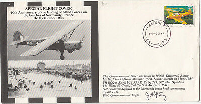Stamp 1984 flight cover 40th anniversary military Normandy landing, signed pilot