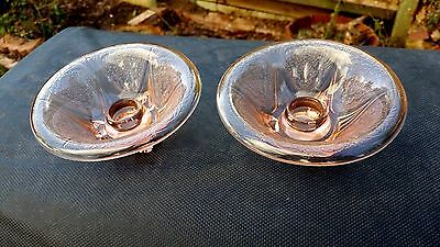 Pink Royal Rolled Edge Candlestick Pair