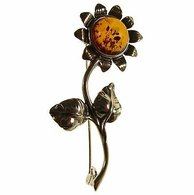 Baltic Amber Sterling Silver 925 Sunflower Brooch Pin Jewellery Jewelry Gift Box