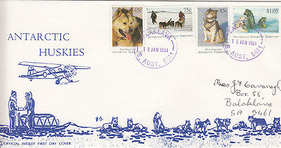 Stamps AAT Antarctic Husky dog set of 4 stamps on uncommon WCS Wesley FDC, nice