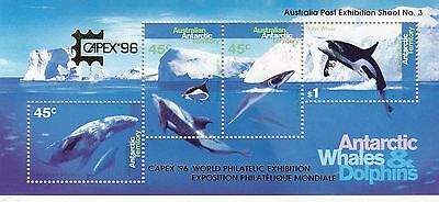 Stamps AAT Antarctic Whales & Dolphins mini sheet uncommon WCS Wesley FDC, nice