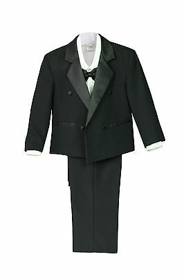 New Boy Baby Kid Wedding Formal Party Black 5pc Double Breast Suit Tuxedo sz S-7