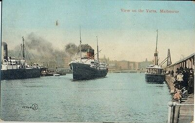 Postcard view on the Yarra River Melbourne Victoria showing ships, people & dock