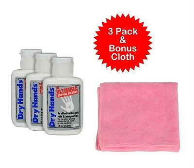 Dry Hands Powder 3 pack 1oz Solution + Pink Cloth Pole Dancing Water Sport Golf
