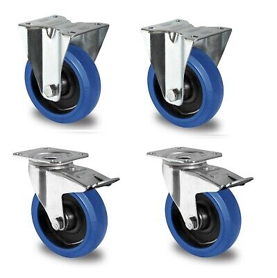 1 Satz Blue Wheels Lenkrollen 100mm Transportrollen NEU