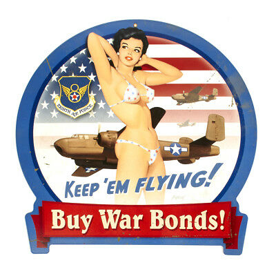 U.S. WWII Vintage Metal Sign B25 War Bonds Pin Up Girl