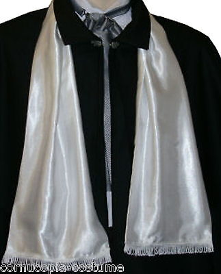 Mens Victorian / Edwardian costume /fancy dress white satin opera scarf