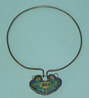 Antique Chinese Solid Silver Enamel Necklace Lock Pendant Qing Dynasty 19Th C