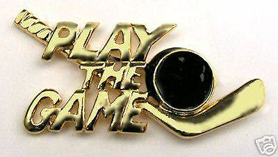 Goldtone Play The Game Hockey Lapel Pin BRILLIANT SHINE