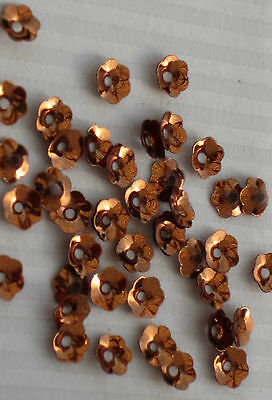 Sequins Flower Cup 6mm Topaz Brown Metallic Scallop Edge Rare Top Quality
