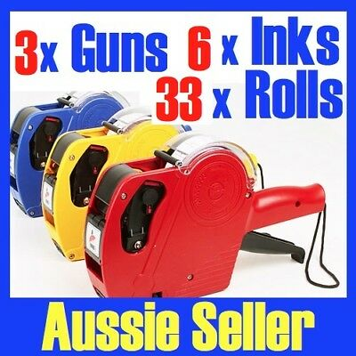 3X Pricing Price Tag Guns Labellers +33 Rolls + 6 Inks