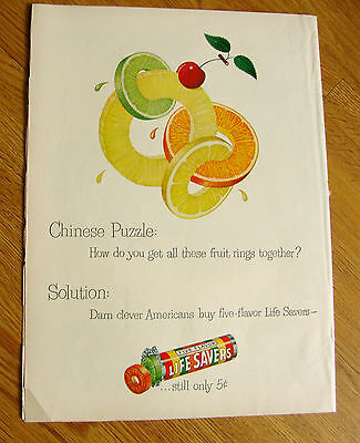 1949 Life Savers Candy Ad  Chinese Puzzle