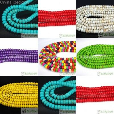 White Blue Green Red Yellow Purple Howlite Turquoise Gemstone Rondelle Beads 16""
