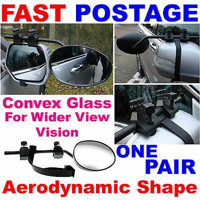2X Twin Pair Caravan Car Extension Towing CONVEX Wing Side Rearview Mirrors 8327