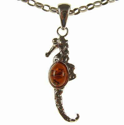 Baltic Amber Sterling Silver 925 Seahorse Pendant Necklace Chain Jewellery Gift