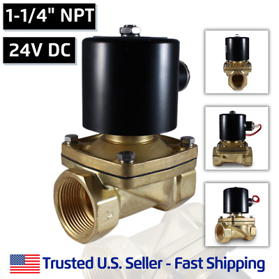 """1-1/4"""" 24V DC Electric Brass Solenoid Valve Water Gas Air 24 VDC - FREE SHIPPING"""