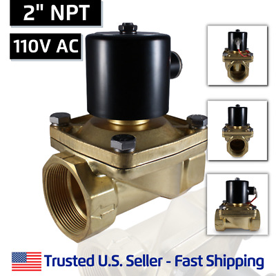 "2"" Inch 110V AC Brass Electric Solenoid Valve 110 VAC 120 Volt - FREE SHIPPING"