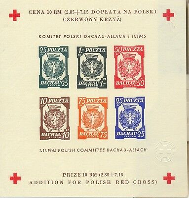 RARE Polish red cross 2.85 DACHAU Jews in concentration camps imperforated, MUH