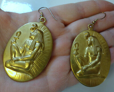 Vintage Gold Tone Metal Egyptian Large Earrings Beautiful