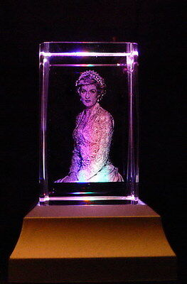 Princess Diana Collectable Laser Inscribed Crystal LED Night Light Gift OTH08