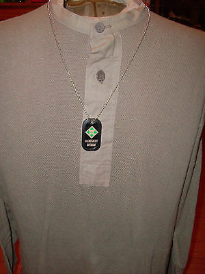 Military 4Th Infantry Division Dog Tag With Silencer And Chain