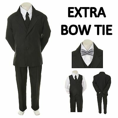 New Baby Toddler Boy Black Formal Wedding Party Suit Tuxedo+ Silver Bow Tie S-4T