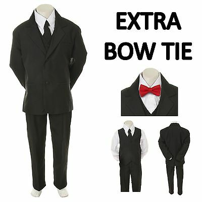 New Baby Toddler Boy Black Formal Wedding Party Suit Tuxedo+ Red Bow Tie S-4T