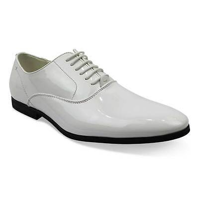 Mens White Tuxedo Shoes Round Traditional Almond Toe Lace Up Patent Leather AZAR
