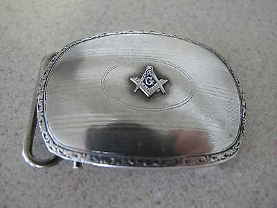 Masonic Belt buckle sterling silver oval vintage