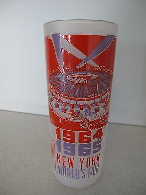 World's Fair 1964-1965 New York frosted tall glass Fair Circus vintage