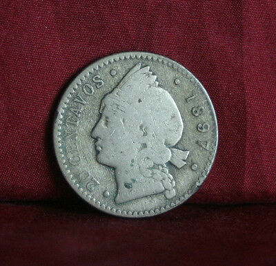 Dominican Republic 1897 20 Centavos Silver World Coin KM14 Central America