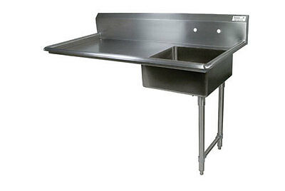 "BKResources Stainless Steel 60"" Right Side Undercounter Dish Tables BKUCDT-60-R"