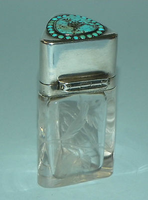Rare Antique French Intaglio Cut Crystal Glass Gilt Silver Perfume Scent Bottle