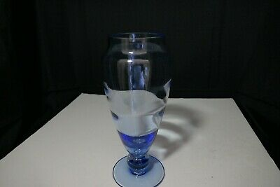 Tiffin Swedish Optic Copen Blue Footed Vase Clear Knop