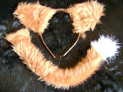 Farmyard Animal Cow Brown And Cream Faux Fur Ears /& Tail Instant Fancy Dress