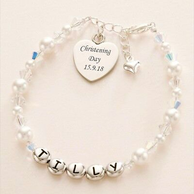 Personalised Christening Bracelet with Engraved Heart Charm, Engraving included!