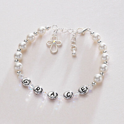 Named Christening Bracelet. Very High Quality Personalised Jewellery Gifts
