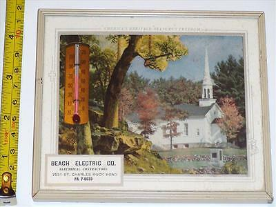 BB051 Vintage 'Beach Electric Co.' Advertisement Picture W/ Thermometer