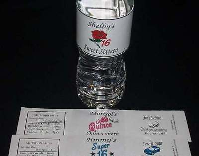 Sweet Sixteen Super 16 ~ Quinceanera 15 ~ Water Bottle Wrappers Birthday Favors