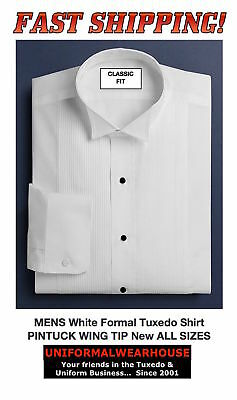 MENS White PINTUCK Pleated Formal Tuxedo Shirt WING TIP Collar New ALL SIZES
