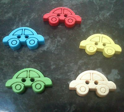 10 NEW CAR  SHAPED WOODEN BUTTONS ASSORTED COLOURS SEWING CRAFTS