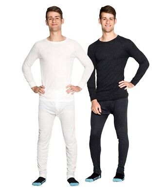 Mens Wool Blend Thermal Underwear 2 pc Set Black OR Biege Sz S M L XL XXL