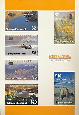Phonecards South Australia magnetic set of 6 in pack unused, uncommon