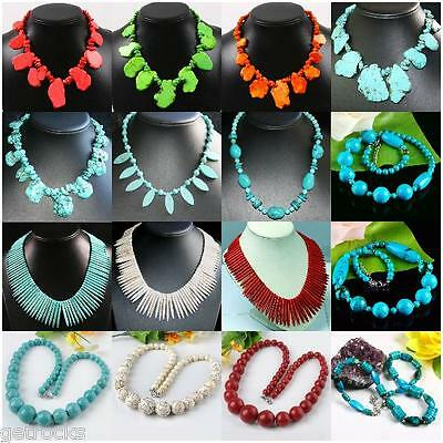 Mix Style Howlite Turquoise Natural Gemstone Spike Beads Necklace Noble Jewelry