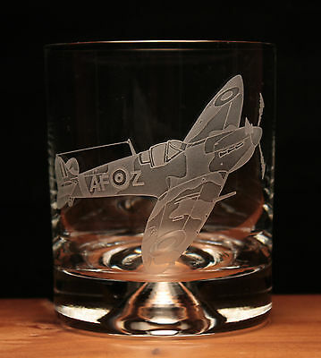 Spitfire WW2 Airforce Aeroplane Aircraft engraved glass tumbler gift present