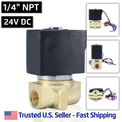 "1/4"" 24V DC Electric Brass Solenoid Valve Water Air 24 Volt VDC - FREE SHIPPING"