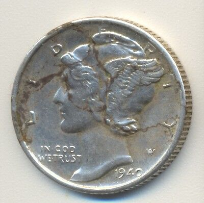 Coin 1940s USA silver dime with major planchet flaws, cracks in fine condition