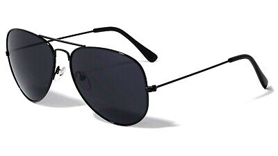 Aviator Sunglasses Retro Vintage Black Lens Police Pilot Metal Frame Black New