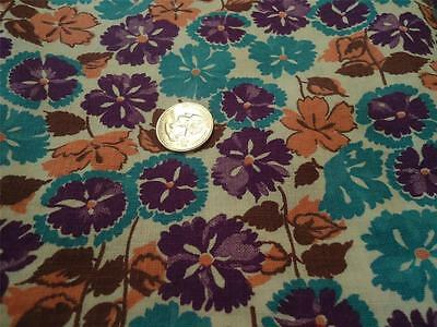 Vintage Feedsack  Floral Fabric Material Quilting OLD Purple Green pink full